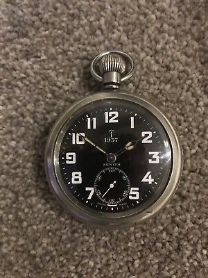 Interesting Large British Military Issue Top Make Zenith Pocket Watch Pre Ww2 • 390£