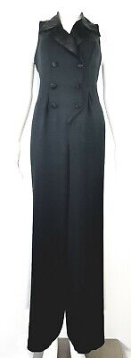 $49.99 • Buy Vtg 90s Knapp Studio Jumpsuit Tuxedo 8 Womens Black Double Breasted Lace Up Back