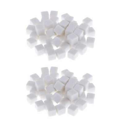AU17.14 • Buy Set Of 100 White Opaque Blank 6 Sided Dice For Party Game Casino Supplies