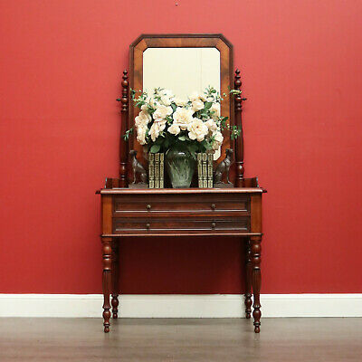 AU995 • Buy Antique French 2 Drawer Mirror Back Dressing Table Hall Table Or Bathroom Vanity