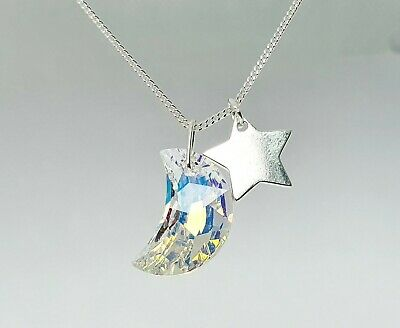 Handcrafted SWAROVSKI Crystal Moon Sterling Silver Star Charm Pendant Necklace • 12.45£