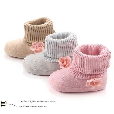0-18M Baby Girl Knit Warm Boots Booties Infant Toddler Newborn Snow Slippers • 8.16£
