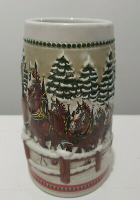 $ CDN13.08 • Buy Budweiser Christmas Beer Stein Holiday Vintage 1984 Mug Bridge Clydesdale Hitch