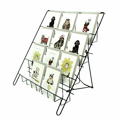 Greeting Card Display Stand In Black 4 Tier Wire Book Magazine Counter (E8B) • 18.99£