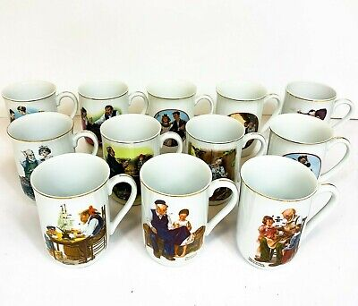 $ CDN91.09 • Buy Vintage Norman Rockwell Coffee Cups Mugs LOT Of 12 - 1982 Museum Collection CW