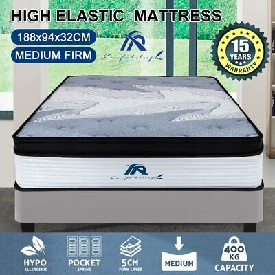 AU116.10 • Buy QUEEN DOUBLE KING SINGLE Mattress 7 Zone Euro Top Latex Spring Foam Chiropractic
