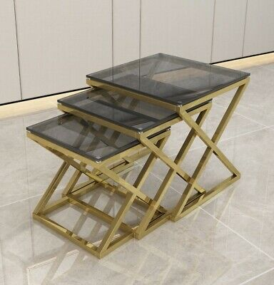 3pce Nest Of Tables Modern Gold Colour Metal Smoked Glass Abstract Criss Cross • 159£