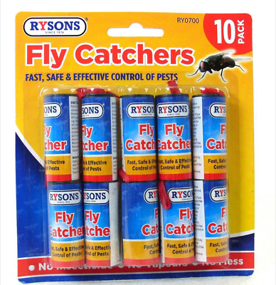 £3.25 • Buy 10 X Fly Catchers Insect Sticky Killer Tape Strip Paper Windows Doors Pest Wasp