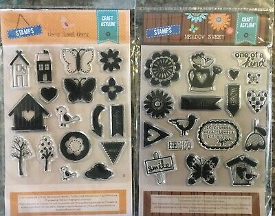 Craft Asylum Clear Stamps - Home Sweet Home And Meadow Sweet • 4£