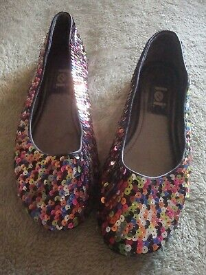 $9.99 • Buy  Women's L.E.I. Sequined Ballet Flat Slip On Shoes,  Size 6