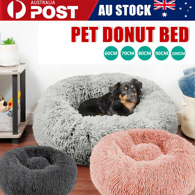 AU45.69 • Buy Dog Pet Cat Calming Bed Beds Large Mat Comfy Puppy Fluffy Donut Cushion Plush