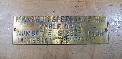 $45 • Buy Old Brass Industrial Elevator Cable Plaque Sign Maximum Speed 150 FPM