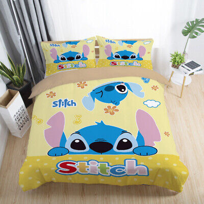 $20.07 • Buy Lilo&Stitch Bedding Sets Queen Twin Full Size Comforter Cover Set Pillow Cases