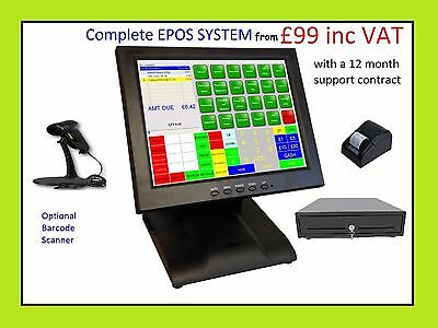 £149 • Buy Starter POS 12 Or 15 Touch Screen EPOS System Cash Till Coffee Shop