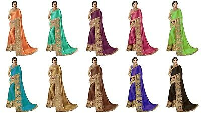 Indian Designer Wedding Plain Silk Sari With Embroidery Work Lace Border New NF • 26.99£