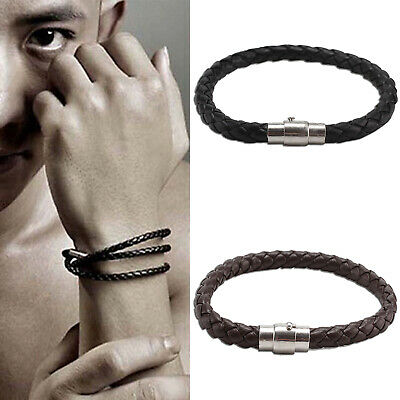 Mens Leather Braided Wristband Bracelet Stainless Steel Magnetic Clasp UK • 1.89£