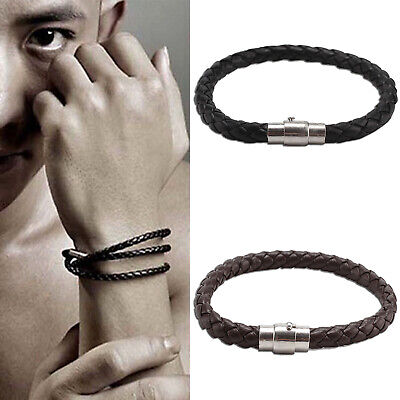 Mens Leather Braided Wristband Bracelet Stainless Steel Magnetic Clasp UK • 1.49£