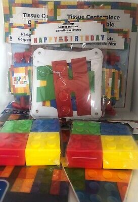$36 • Buy 29 Piece Lego Party Supplies Banner Centerpieces Table Cover Blowers Favor Boxes