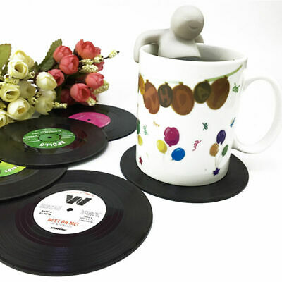 6 Vinyl Style Drinks Coasters Place Mats Bar Set Retro Vintage Record Discs UK • 3.99£
