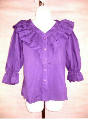 $24.99 • Buy Square Dance Blouse Petite MALCO MODES 2333 3/4 Sleeve Ruffle Several Colors NEW