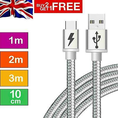 Strong Braided USB Type-C Cable Fast Charging High Durability Charger Data Lead • 2.79£