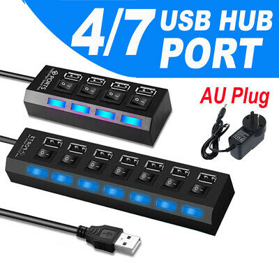 AU23.95 • Buy 4/7 Port USB 2.0 HUB Powered + SAA AU AC Adapter Cable High Speed Desktop