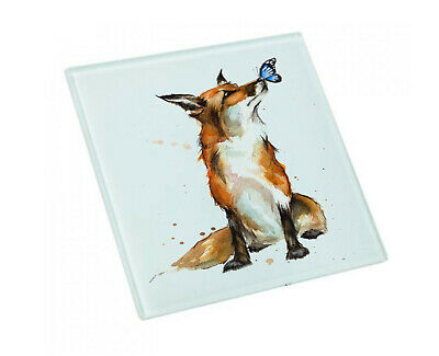 Fox And Butterfly Glass Coaster • 3.99£