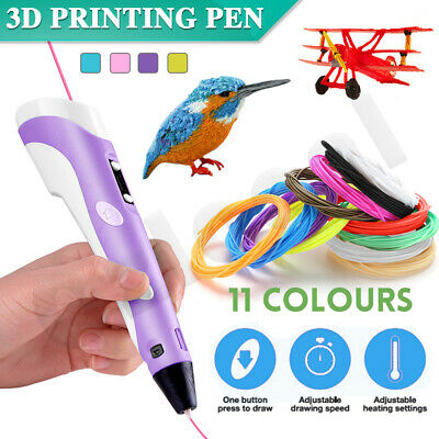 AU21.29 • Buy 3D Printing Pen Crafting Drawing Art Printer PLA ABS LCD Screen Free Filaments