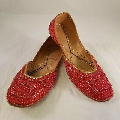 $44.99 • Buy Handmade Red Satin Tan Leather Sequin Beaded Flats Size 38 (US 7.5-8)