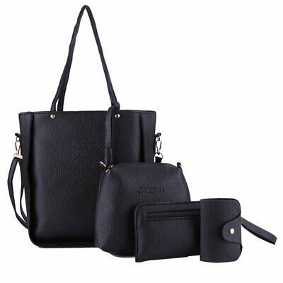 AU15.58 • Buy 4pcs/set Women Lady PU Leather Shoulder Handbag Tote Purse Satchel Messenger Bag
