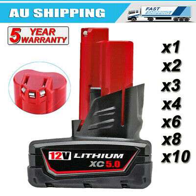 AU28.49 • Buy 12V 5.0Ah For Milwaukee M12B6 XC 5.0 Li-Ion Battery 48-11-2440 48-11-2412 M12B5