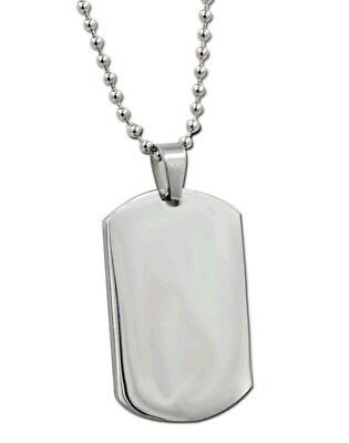 Stainless Steel Dog Tag Necklace With 24inch Ball Chain Birthday Christmas 980 • 3.99£