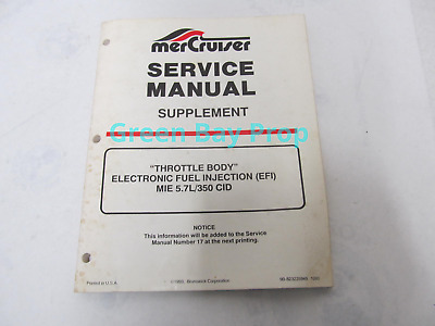 $12.50 • Buy 90-823225940 MerCruiser Service Manual Supplement To #17 EFI MIE 5.7L