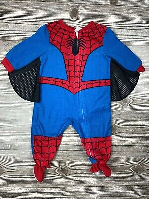 $7.99 • Buy Baby Boy Marvel Spider-Man Footie Pajamas Web Wings Size 12m *Pilling