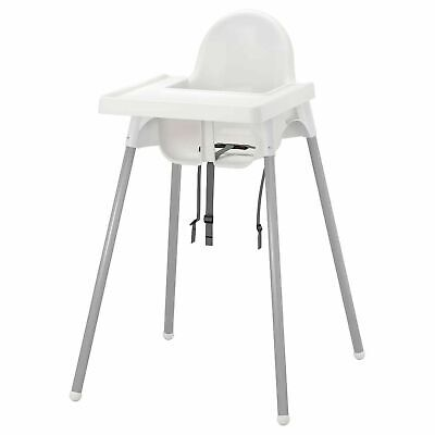 £23.89 • Buy New IKEA Feeding Baby Children White High Chair With Safety Belt Tray Antilop UK
