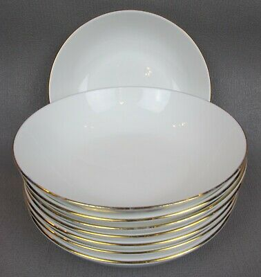 £29.99 • Buy Set Of 8 X Vintage Queen Anne BOWLS / DEEP PLATES. White With Gold Rim. 6.75