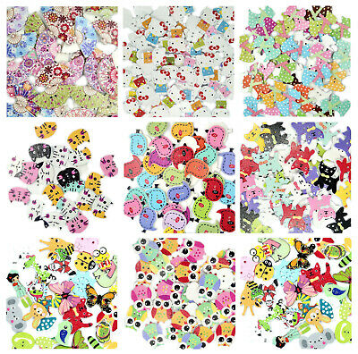 Children Fun Animal Coloured Wooden Buttons Sewing Crocheting Craft 5/10/20Pcs • 2.49£