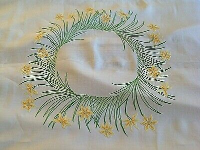 Vintage French Linen Narcissi Tablecloth 145cm Sq • 25£
