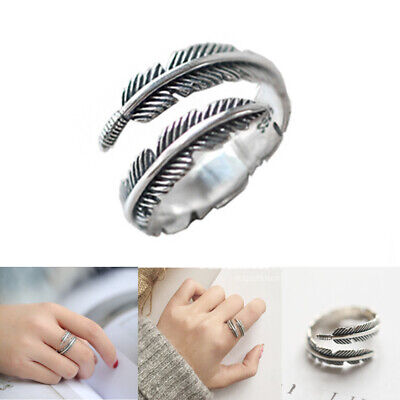 £4.99 • Buy UK 925 Sterling Silver Feather Ring Band Open Finger Fully Adjustable Jewelry