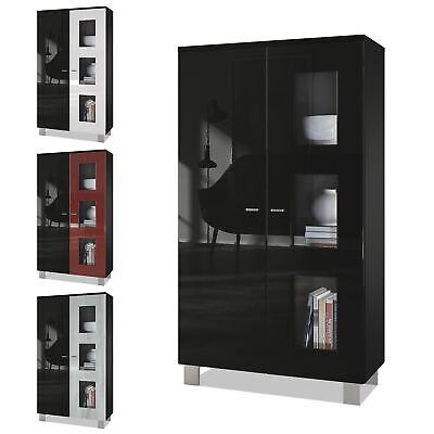 Tall Display Cabinet Glass Unit Denjo Black - Display Door In Different Colours • 204.99£