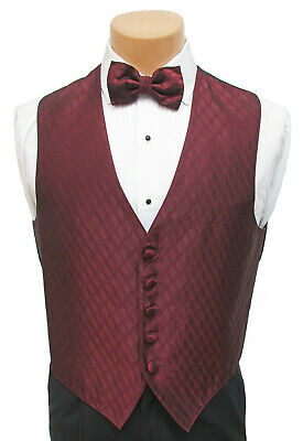 $ CDN5.68 • Buy Men's Burgundy Wine Red Tuxedo Vest & Tie Set Fullback Formal Wedding Prom