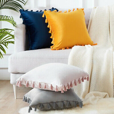 45x45cm Luxury Tassel Soft Cushion Cover Without Filling Particles Velvet Solid • 4.66£
