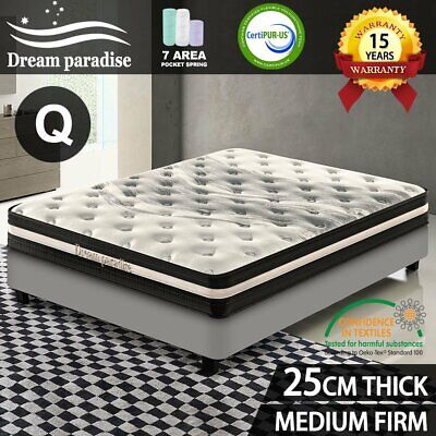 AU198.55 • Buy Bed Mattress QUEEN Size Pocket Spring Foam Medium Firm *DREAM PARADISE