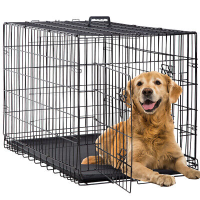 $54.99 • Buy Dog Crate Extra Large Double Door Folding Dog Cage Pet Crate W/Divider&Tray,42