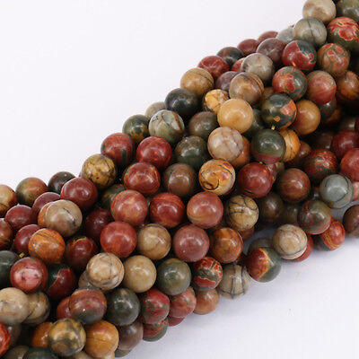 £4.96 • Buy Wholesale Round Natural Picasso Jasper Gemstone Spacer Loose Beads Craft 4-10mm