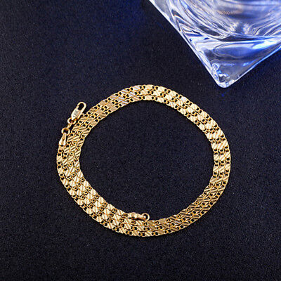 Men Women Gold Plated Flat Snake Chain Choker Necklace Jewelry Charm 16-24 Inch • 3.97£