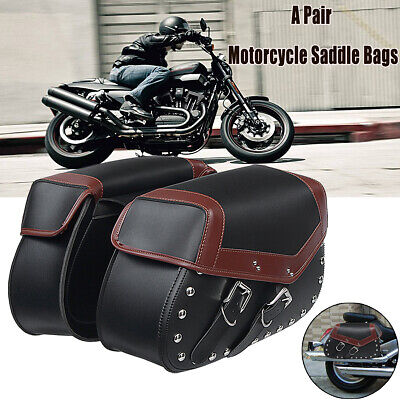 $151.99 • Buy 2x Universal Black Motorcycle Saddle Bags Side Pouch Luggage Storage Fork Tool