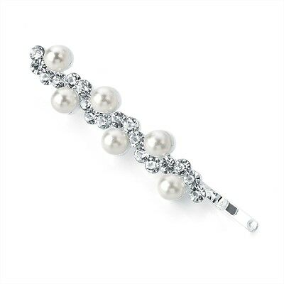 £3.25 • Buy Pearl Bead And Clear Crystal Wave Design Hair Slide Grip Clip Pin Jewel
