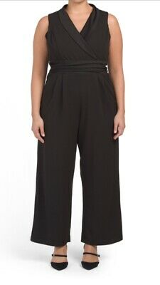 $40 • Buy NWT Women's Plus Tuxedo Shawl Collar Jumpsuit 22W 24 Black MSRP $98