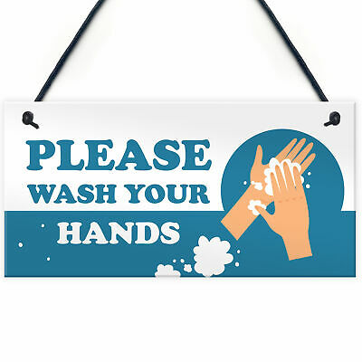WASH YOUR HANDS Public Safety Health And Safety Warning Plaque Toilet Signs • 3.99£
